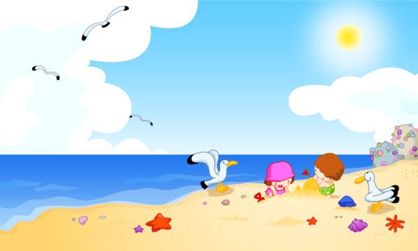 海滩边玩耍的儿童卡通矢量图下载