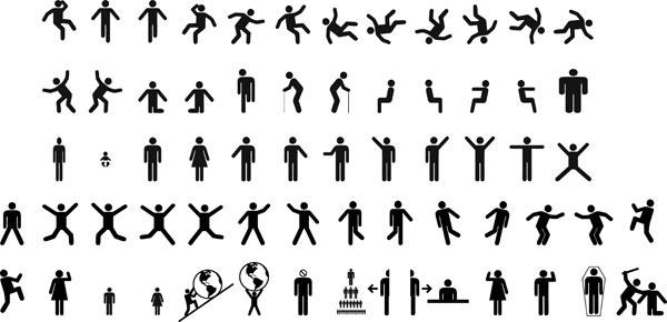 几十款动作火柴人矢量图-矢量人物与卡通-矢量素材-素