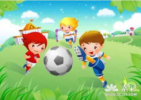 可爱儿童足球运动矢量图2