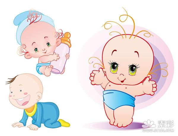 可爱baby婴儿矢量图-矢量人物与卡通-矢量素材-素彩网