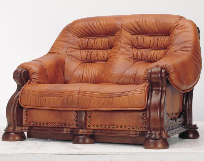 欧式木底精雕牛皮双人沙发3D模型(含材质)