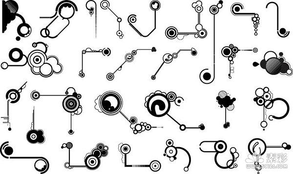 线条形状黑白设计矢量图-矢量潮流设计-矢量素材-素彩