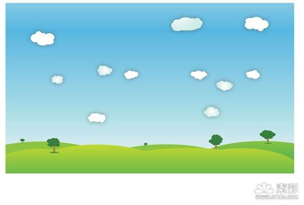 蓝天草地矢量图-矢量植物与风景-矢量素材-素彩网