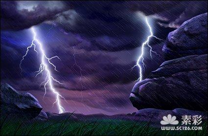 郊外的闪电下雨景色psd素材-风景风光psd素材-psd素材
