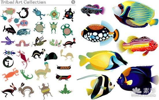 鱼类等动物矢量图