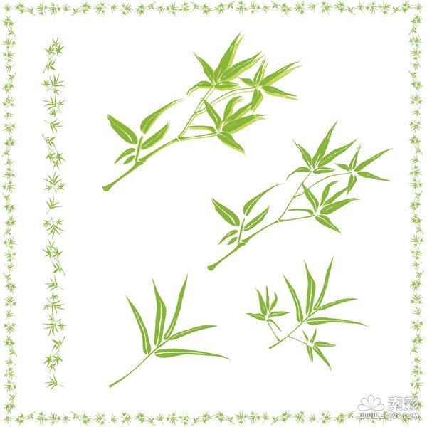 竹子叶边框矢量图-矢量植物与风景-矢量素材-素彩网