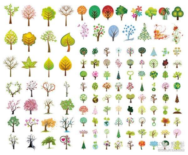 树叶,树枝,椰子树,心形,环保,花纹,圣诞树,绿叶,枫叶,春夏秋冬,矢量图