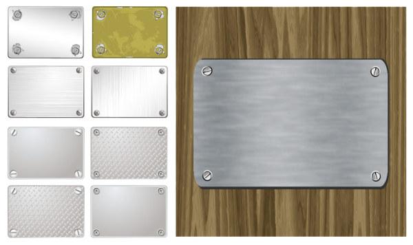 金属牌,金属板,螺丝,拉丝,钢板,木板,木纹,铁板,钢铁,螺帽,矢量图