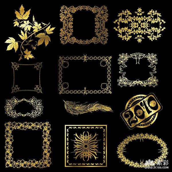 含jpg,关健字:金色,华丽,花边,花纹,树叶,叶子,边框,羽毛,矢量图,素材