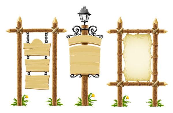 公告牌,路灯,花草,木头,木板,木纹,羊皮,牛皮,公告板,矢量图,设计素材