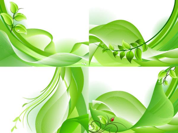 动感线条,树叶,绿叶,水珠,花蕾,波浪线,花纹,背景,矢量图,设计素材
