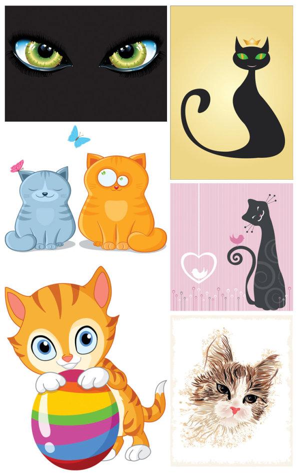 猫,卡通,可爱,彩蛋,心形,猫眼,蝴蝶,动物,矢量图,设计素材,eps格式
