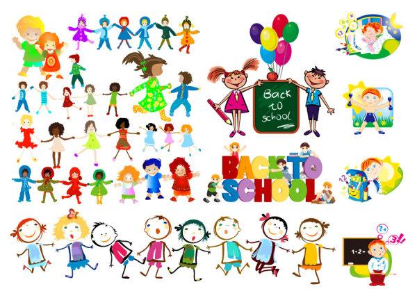 儿童,孩子,黑板,气球,手拉手,上学,卡通,可爱,小学生,矢量图,设计素材