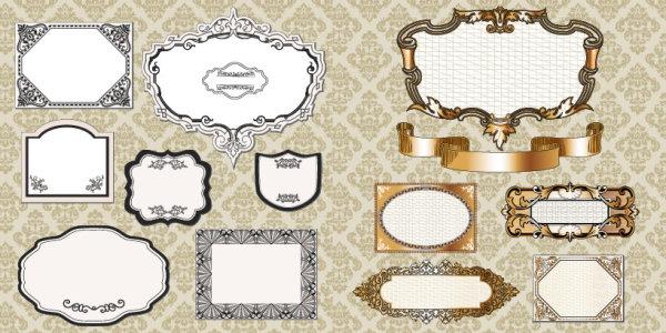 欧式,花纹,边框,花边,形状,丝带,背景,矢量图,设计素材,eps格式