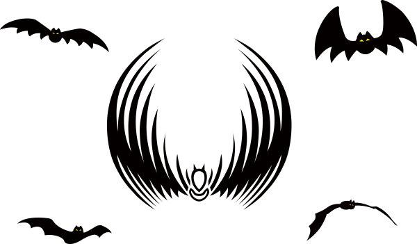 黑色蝙蝠动物矢量图