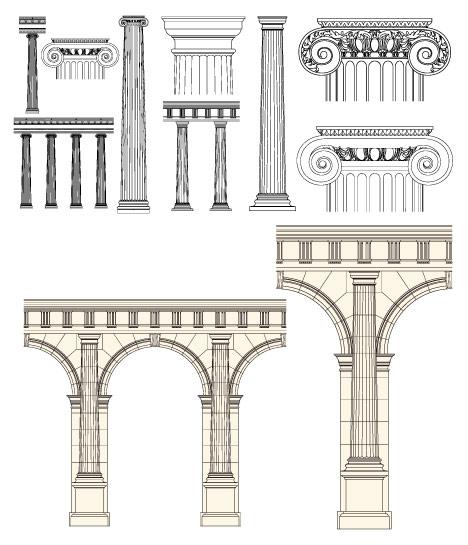 欧式建筑柱子矢量图