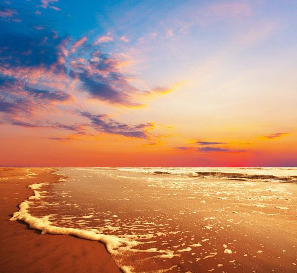 彩海边风景画简单_海边晚霞自然风光高清图片-风景图片-高清图片-素彩网