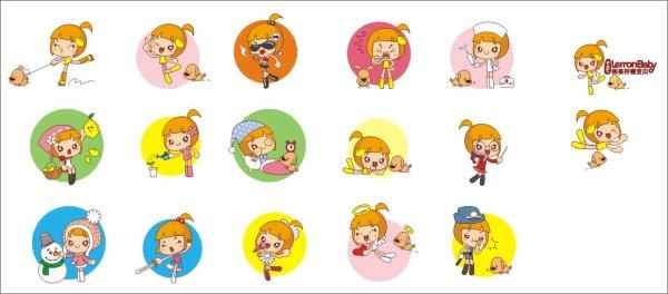 柠檬宝贝logo卡通人头矢量图