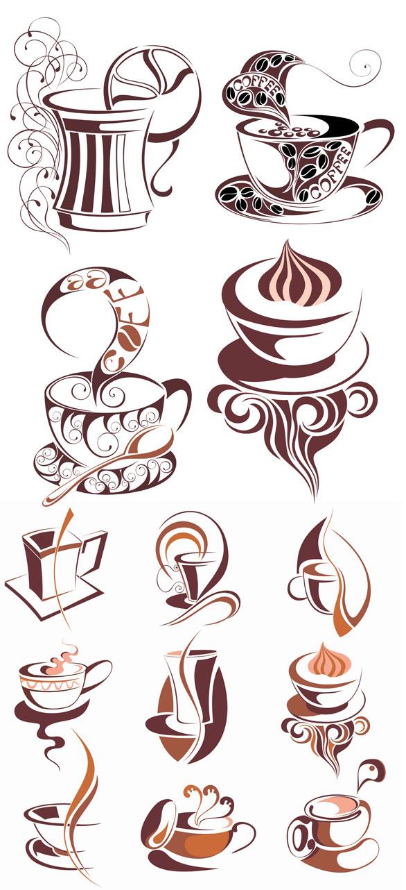 咖啡主题图标矢量图