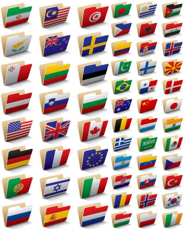 国旗,图标,文件,文件夹,公文包,矢量图,设计素材,eps格式