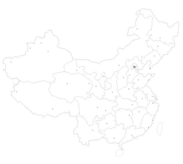 线描中国地图矢量图