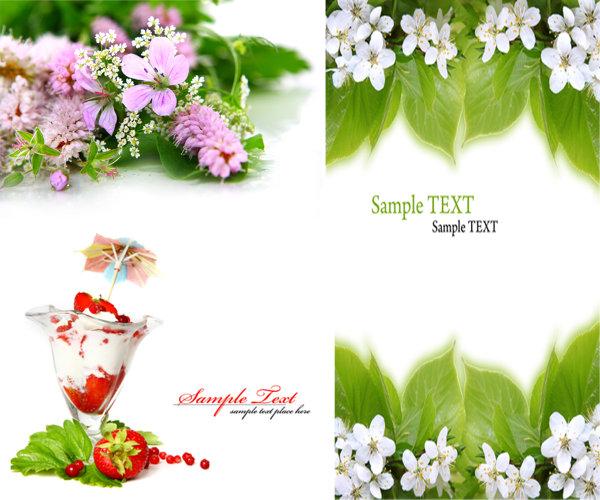 冰激凌,小伞,草莓,绿叶,花朵,百花,高清,背景,高清图片,设计素材