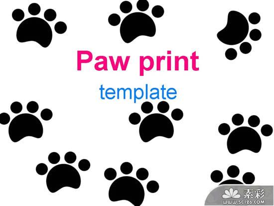 动物卡通脚印ppt模板