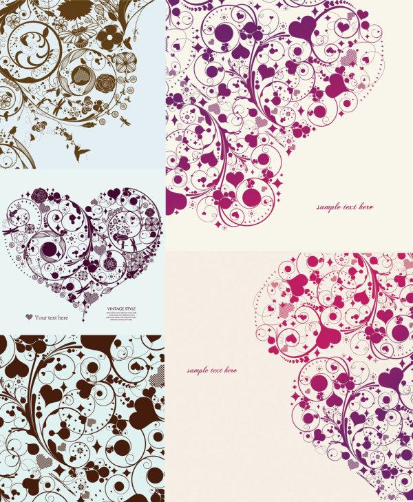 花纹,时尚,心形,蜂鸟,爱情,矢量图,设计素材,eps格式