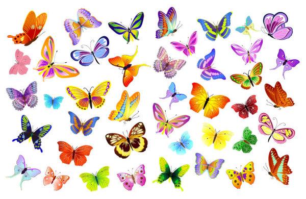 漂亮飞舞蝴蝶矢量图-矢量人物与卡通-矢量素材-素彩网