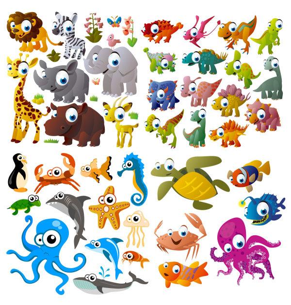 可爱的卡通动物矢量图-矢量人物与卡通-矢量素材-素彩