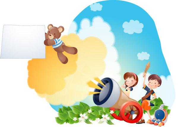 卡通人物可爱小熊炮弹矢量图