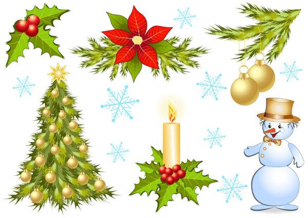 圣诞节,装饰品,红果,圣诞树,蜡烛,彩球,雪人,雪花,矢量图,设计素材