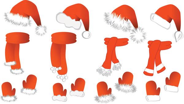 圣诞帽子,围巾,围脖,手套,手袜,圣诞节,矢量图,设计素材,eps格式