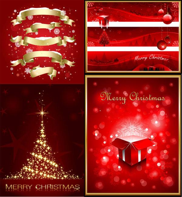 红色圣诞节元素海报矢量图-矢量节日素材-矢量素材-素