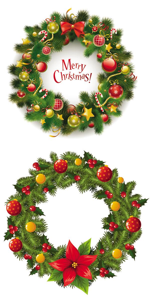 圣诞节花环矢量图2-矢量节日素材-矢量素材-素彩网
