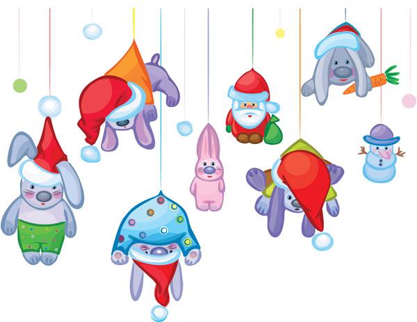 圣诞节,吊着,圣诞老人,兔子,兔年,红萝卜,雪人,帽子,圣诞帽,矢量图