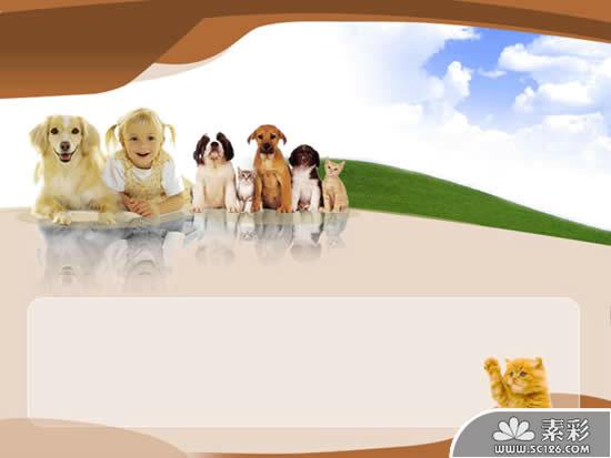 可爱动物儿童教育ppt模板