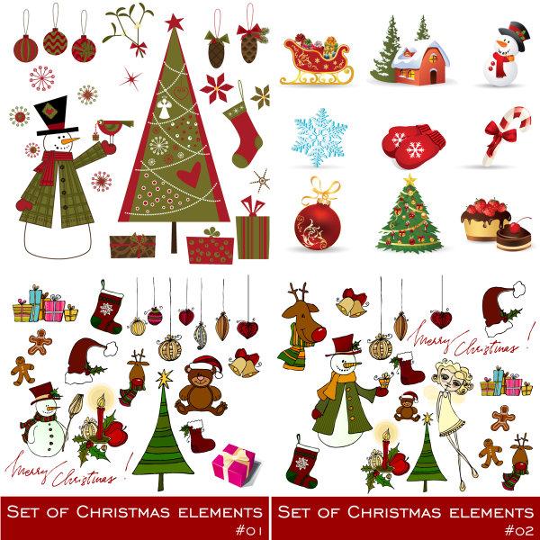 圣诞节精致饰品矢量图