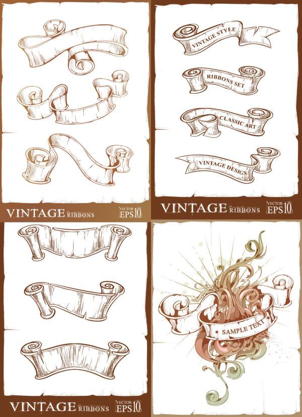 复古,丝带,卷轴,怀旧,破旧,花纹,标签,矢量图,设计素材,eps格式