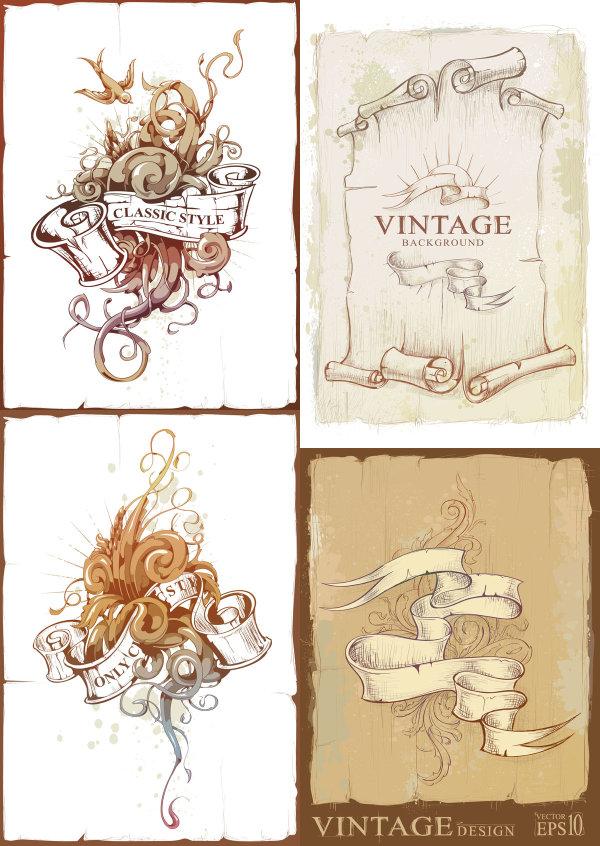 欧式,复古,怀旧,花纹,丝带,底纹,燕子,纸张,卷纸,卷轴,矢量图,设计