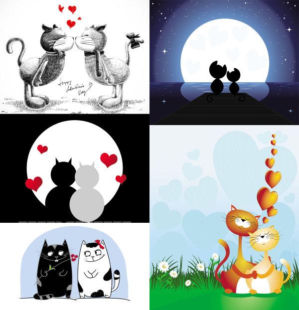 可爱手绘卡通猫咪矢量图