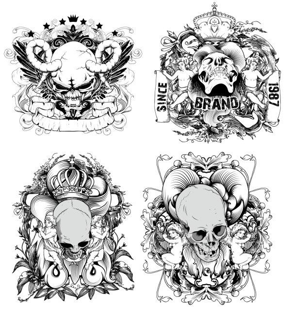 骷髅头,王冠,天使,星星,线稿,线描,花纹,丝带,手绘,矢量图,设计素材