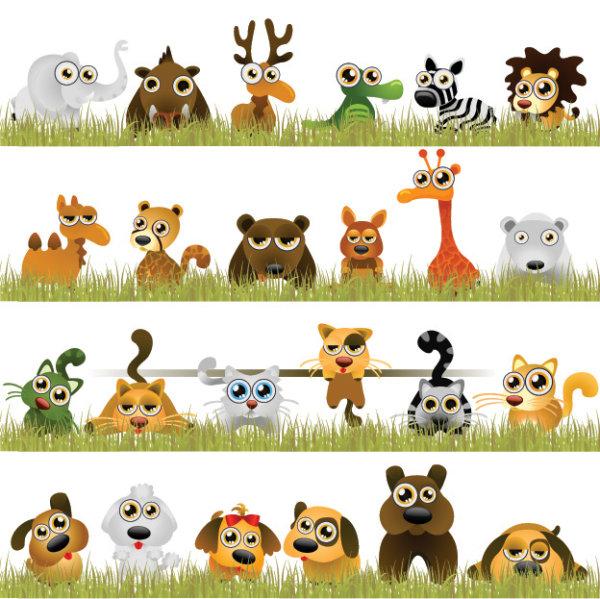 动物 大象 长颈鹿 素材 熊 狗 猫 骆驼 鹿 狮子 松树 矢量图 斑马