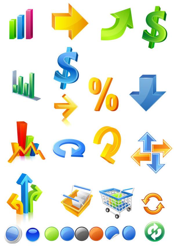 立体,矢量图,图标,箭头,指标,购物车,刷新,循环,按钮,数据,统计,美元图片