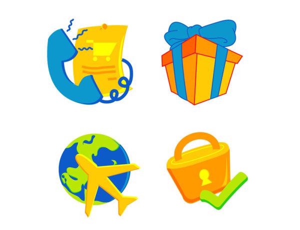 卡通,矢量图,图标,电话,蝴蝶结,礼盒,飞机,地球,对号,锁,开锁,矢量图