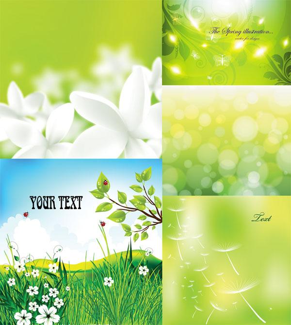 绿色,绿意,生机,春天,嫩绿,梦幻,朦胧,鲜花,装饰,背景,草地,嫩芽,矢量