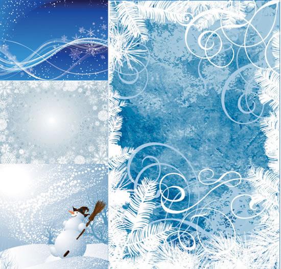 华丽雪人雪花矢量图