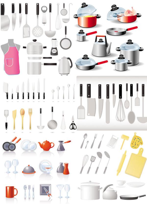 厨房用具大全矢量图-矢量图标素材-矢量素材-素彩网