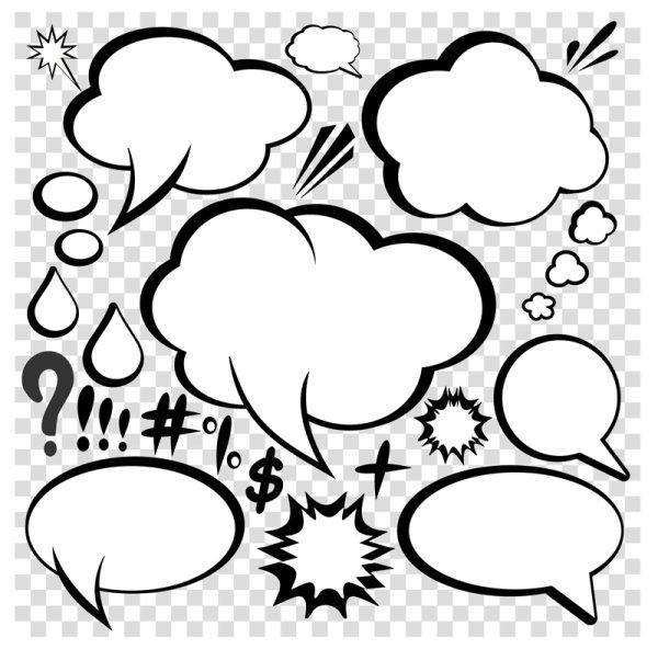 漫画风格对话框矢量图