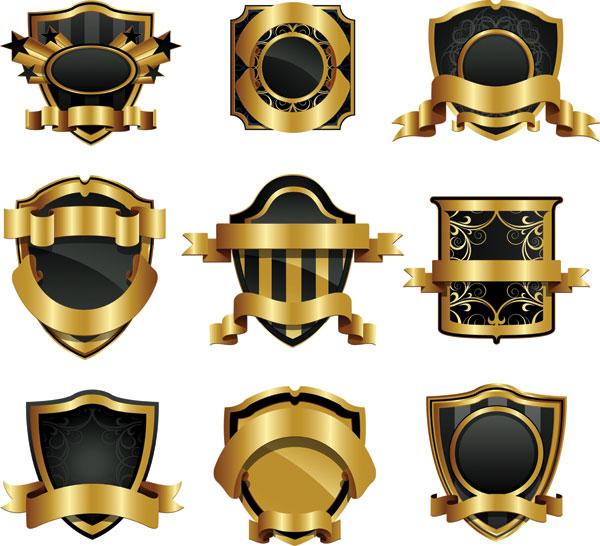 欧式,经典,标签,盾牌,金色,边框,丝带,徽章,章牌,矢量图,设计素材,eps